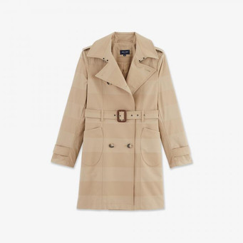 Trench-coat beige en nylon cerclé, Eden Park, 495€