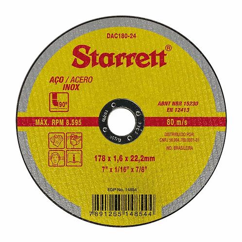 Disco de Corte Aço Inox 7x1,6 - Starrett