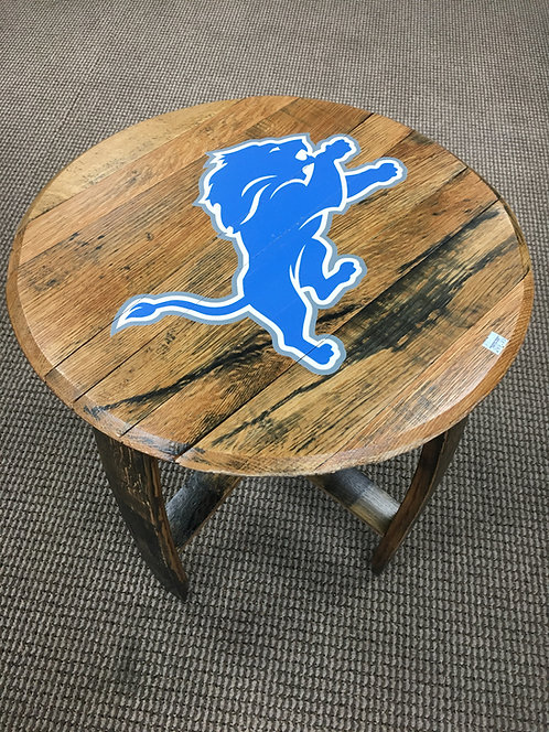 Detroit Lions reclaimed wood side table