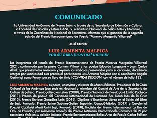 Presidente de CCA, Luis Armenta Malpica, gana el Minerva Margarita Villarreal de poesía