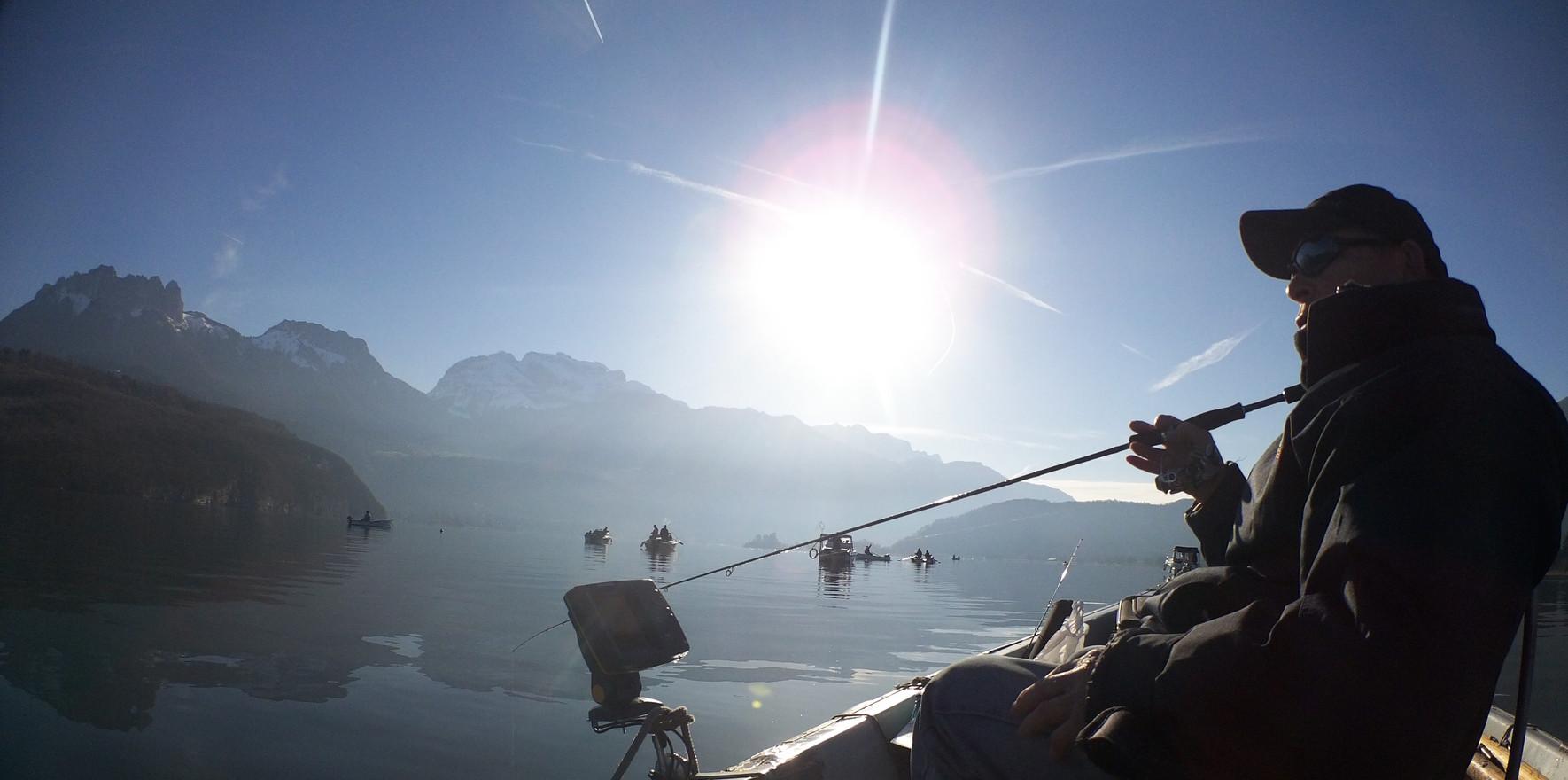 Pêche du corégone sur le lac d'Annecy