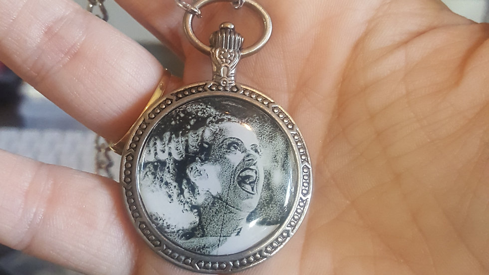 Bride of Frankenstein faux pocket watch pendant