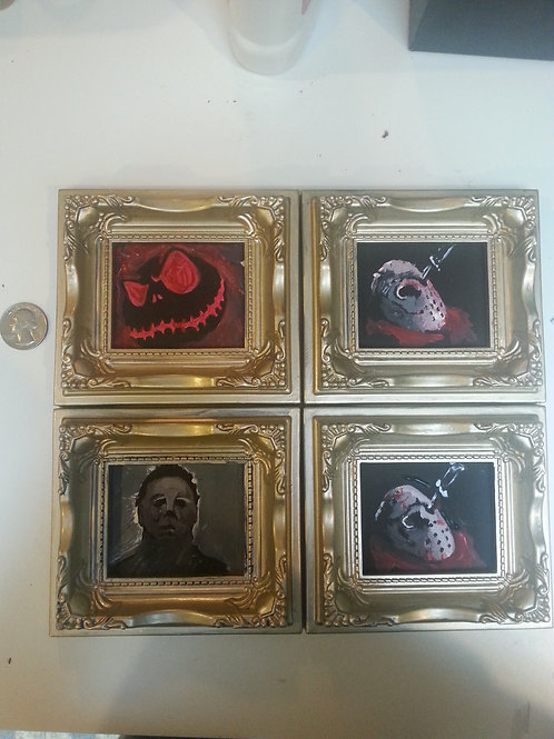Small Hand painted framed portraits. Magnetic!