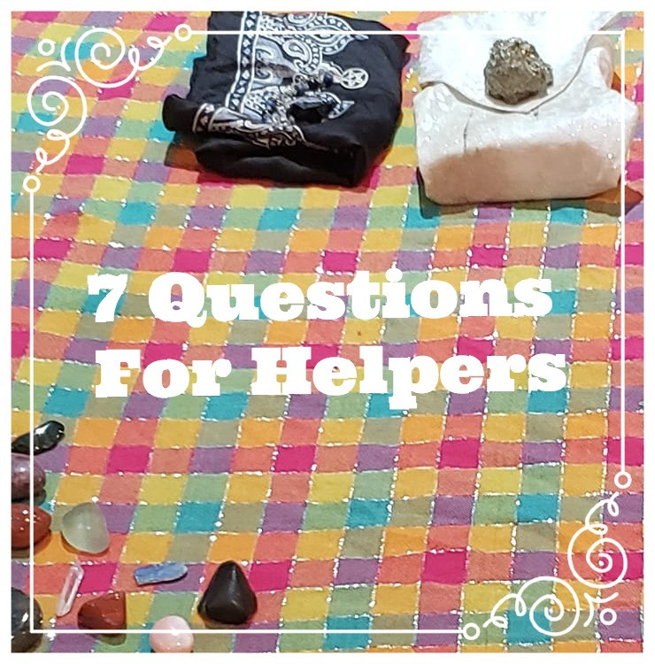 "bright plaid table setting with tarot cards and stones, ""7 questions for helpers"""