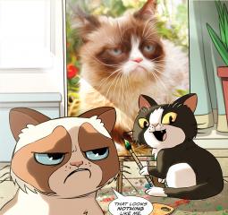 Cute way to introduce kids to Grumpy Cat