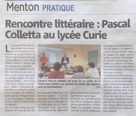 article nice matin 04 02 2019 Colletta2.
