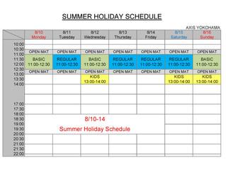 Summer holiday schedule