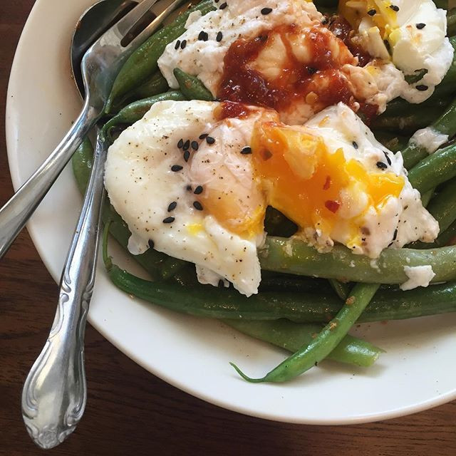 Pole Beans, Soft Poached Eggs, Soy-Yuzu Dressing