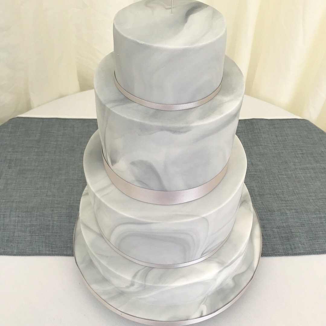 Grey marble wedding cake
