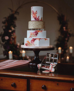 Abstract painted modern wedding cake