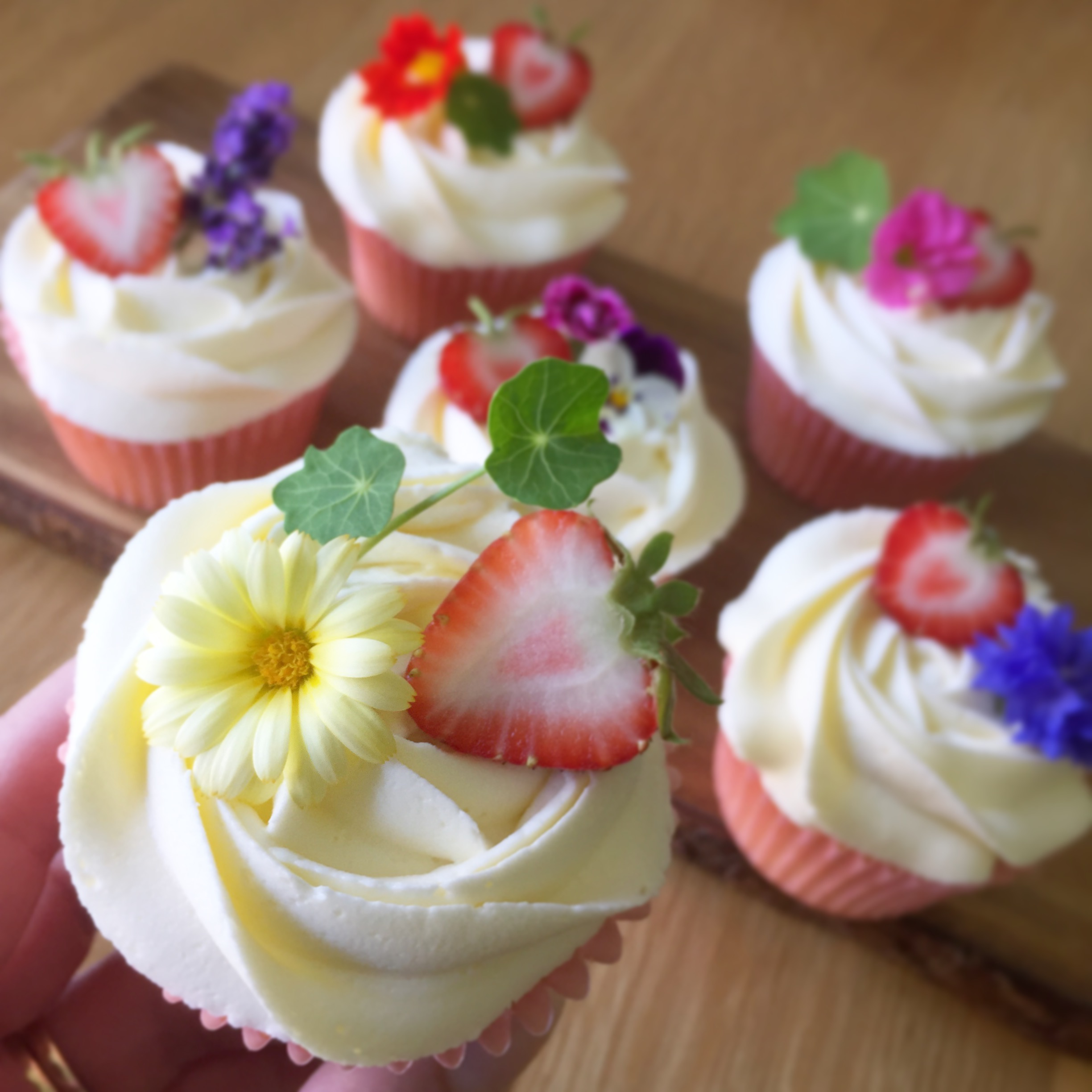 Elderflower & strawberry cupcakes