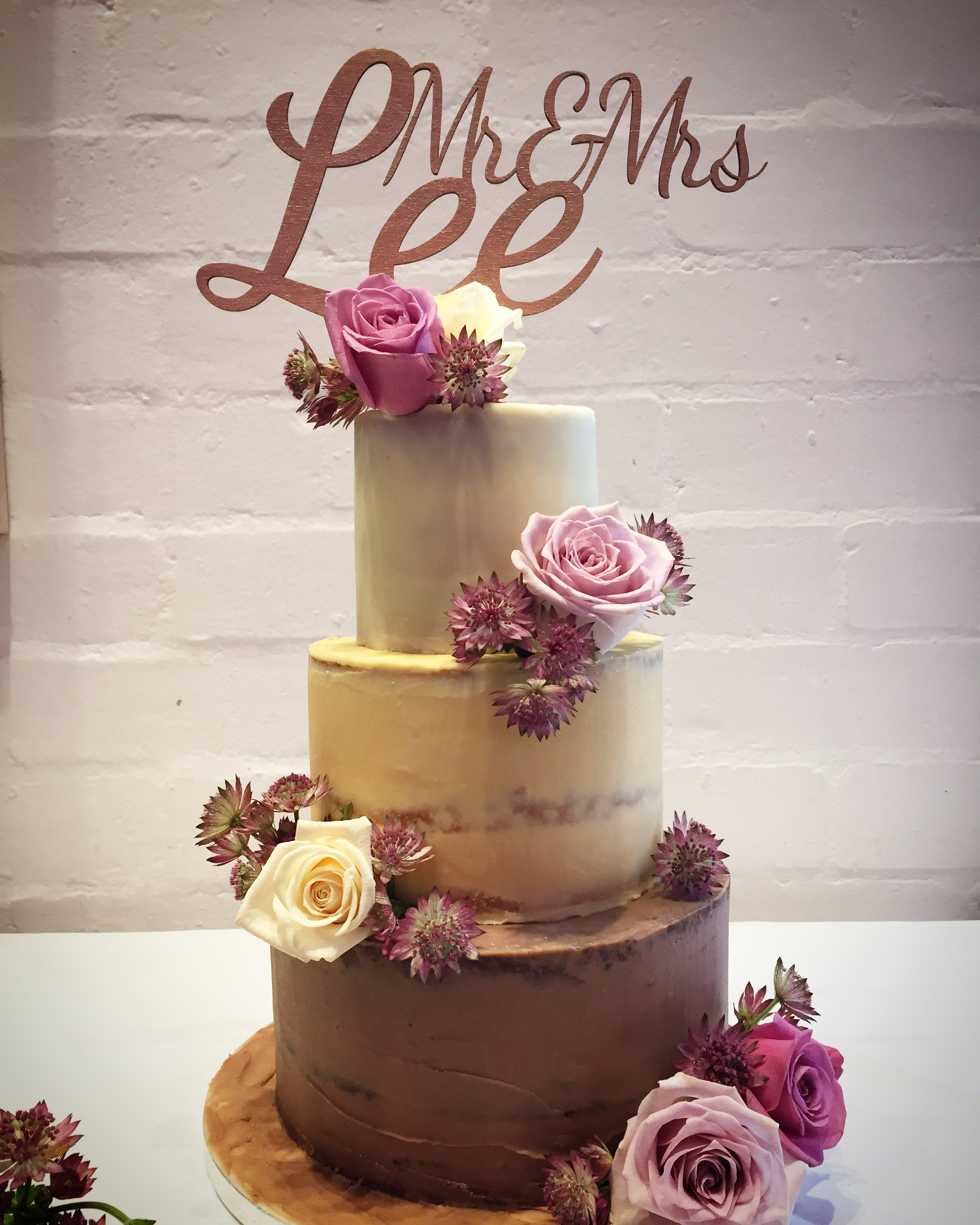 Semi naked ombre wedding cake