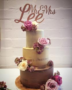 Semi naked ombre wedding cake