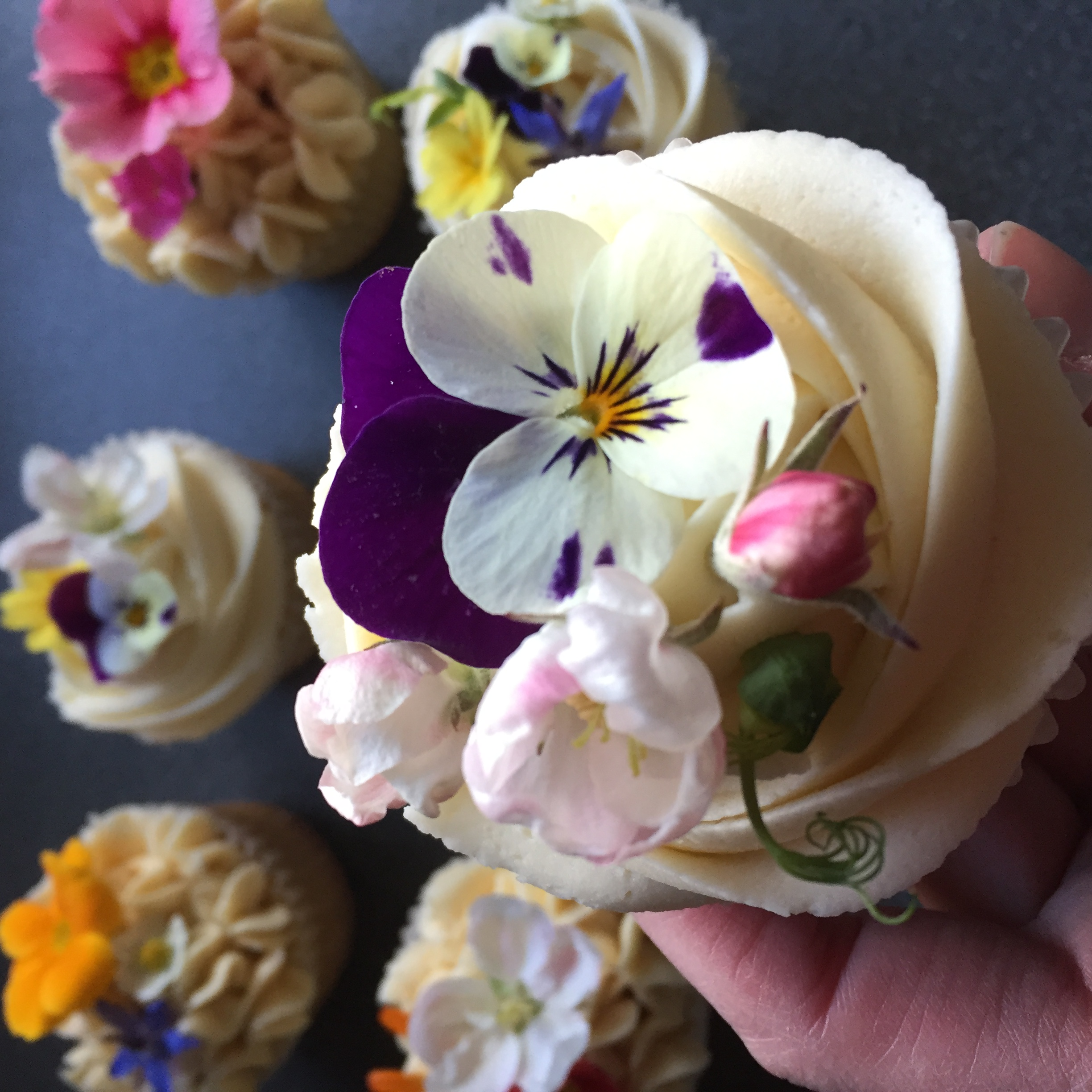 Edible flower cupcakes