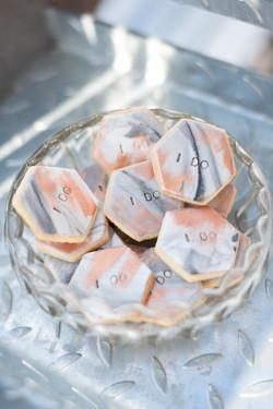 Iced hexagon biscuits