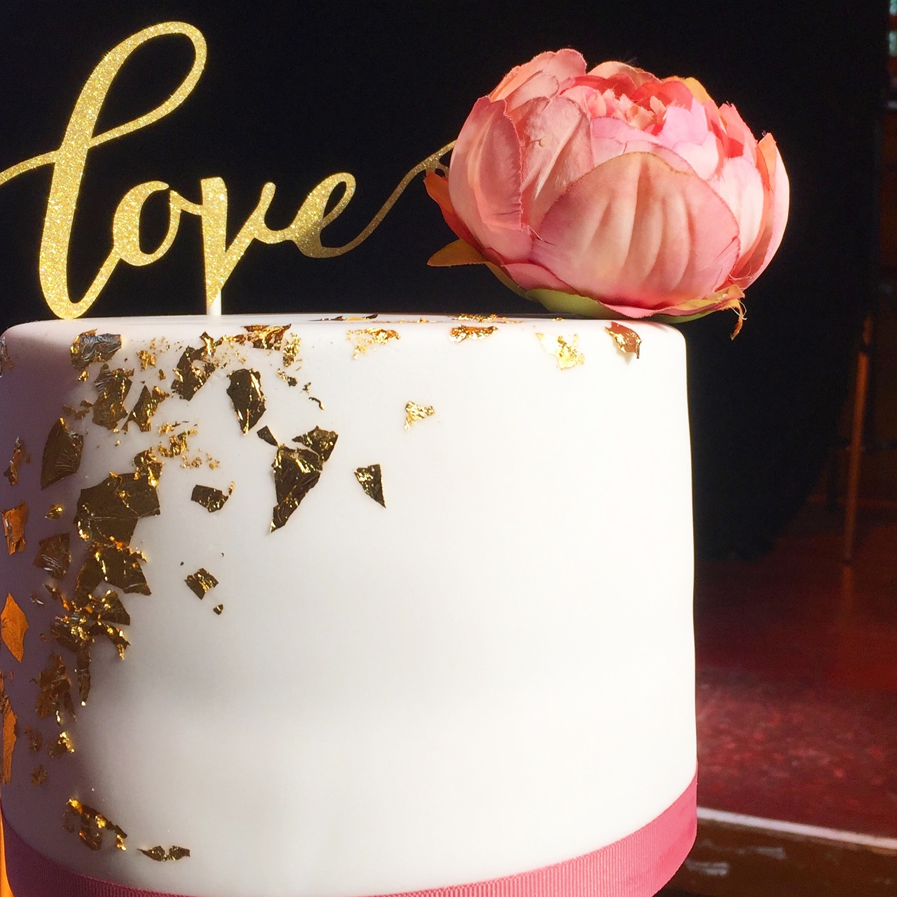Gold leaf & silk peony wedding cake