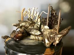 Gold 40th cake