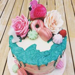 Flamingo Drip Cake