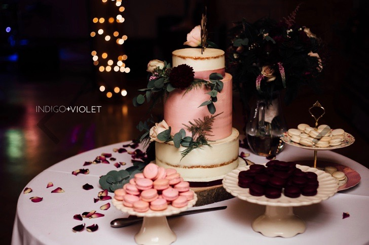 Berry tones wedding cake