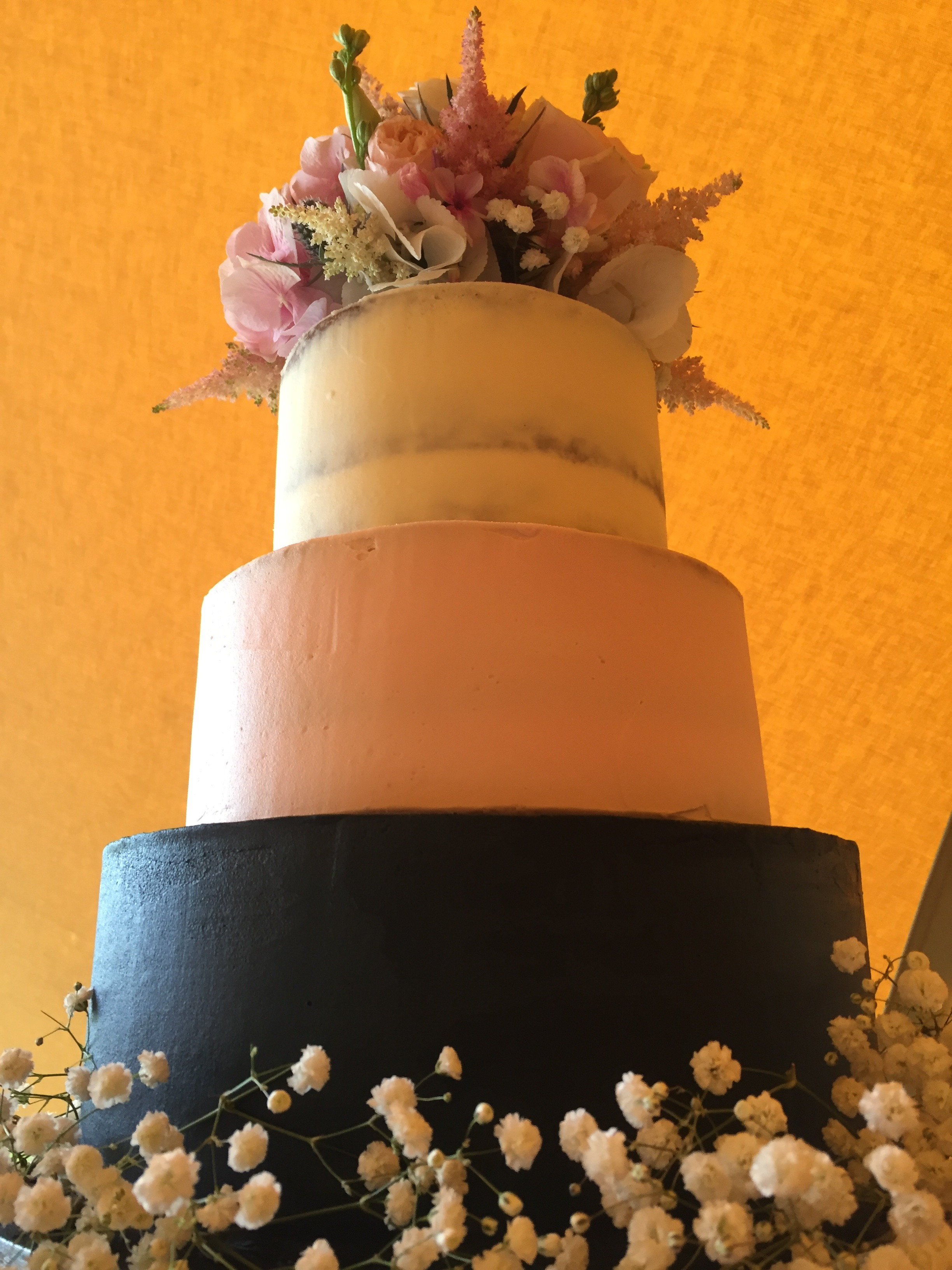 Navy, blush & ivory wedding cake