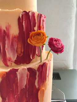 Colourful buttercream wedding cake