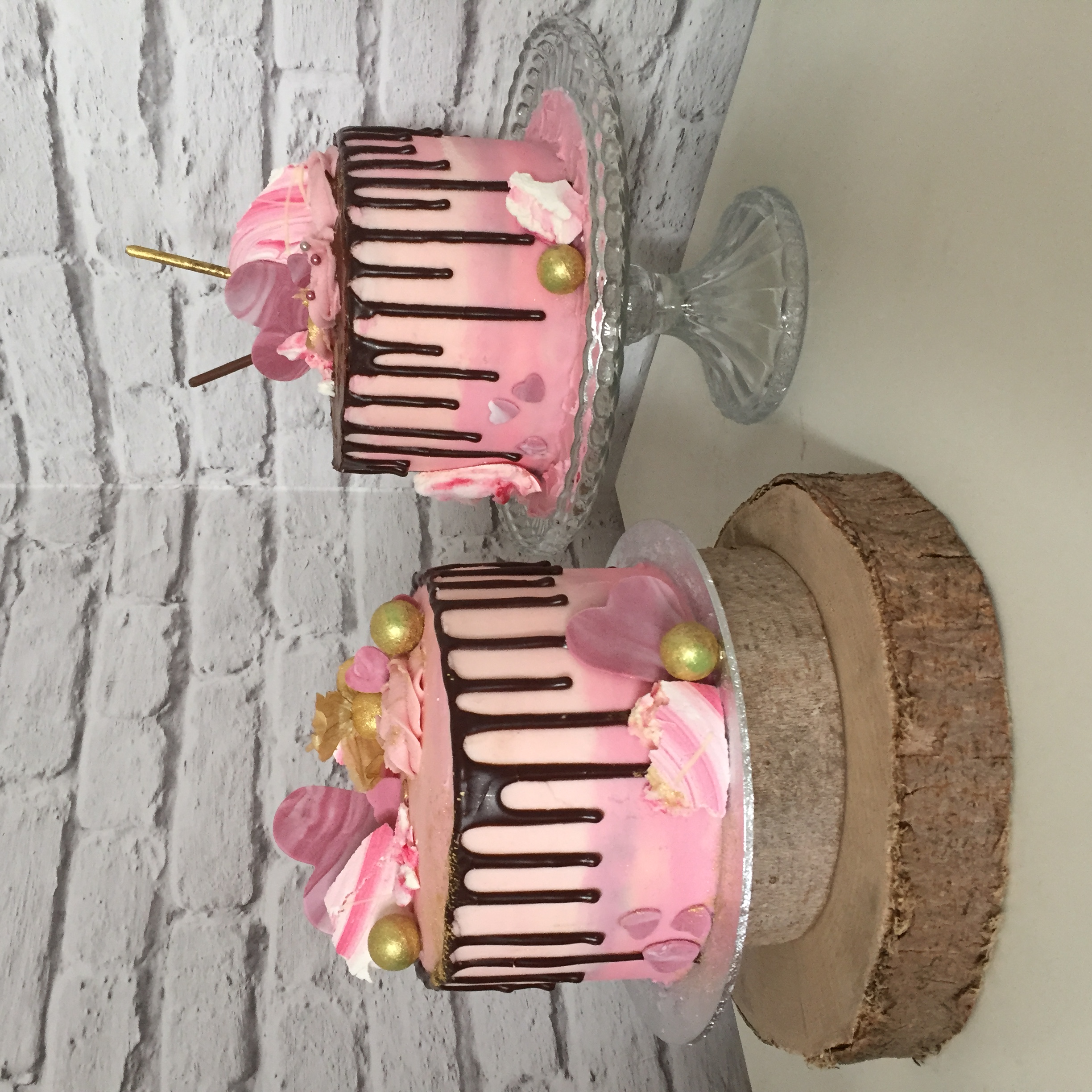 Pink drip cakes