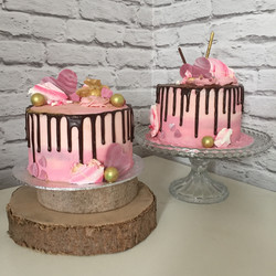 Pink drip cakes