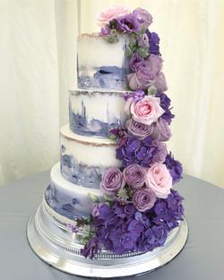 Purple and lilac wedding cake