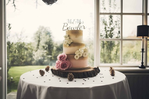 Blush ivory and gold wedding cake
