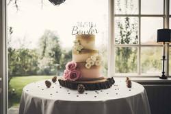 Blush ivory and gold wedding cake