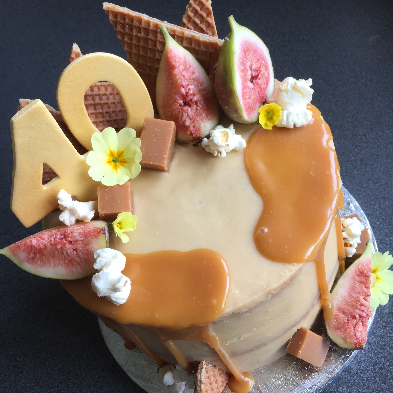Figs & salted caramel layer cake