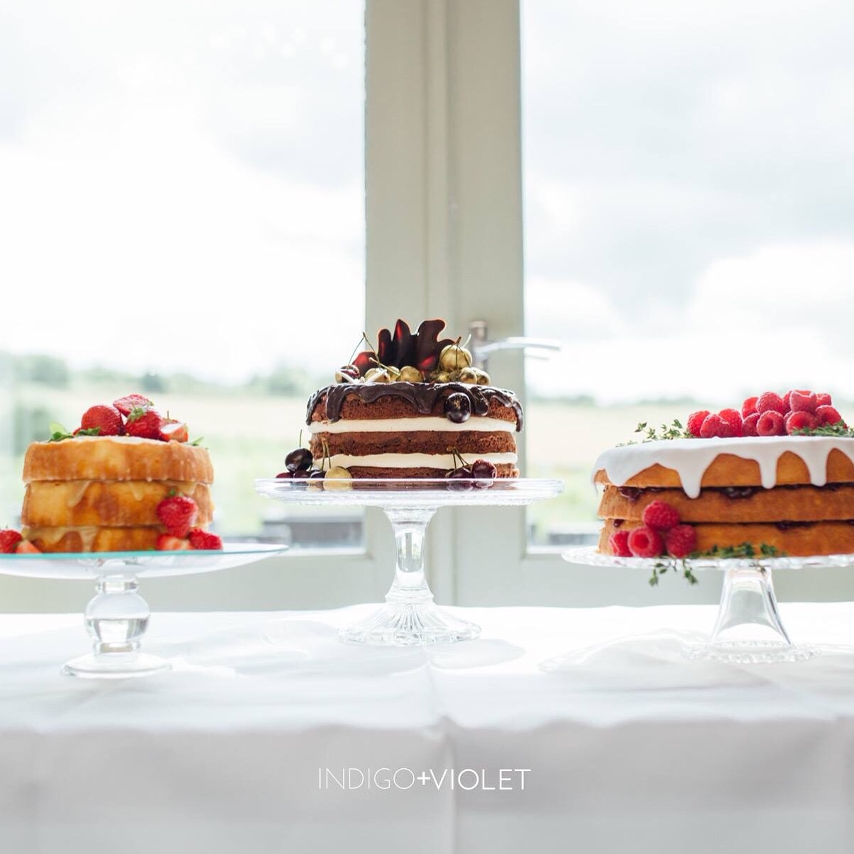Three individual wedding cakes