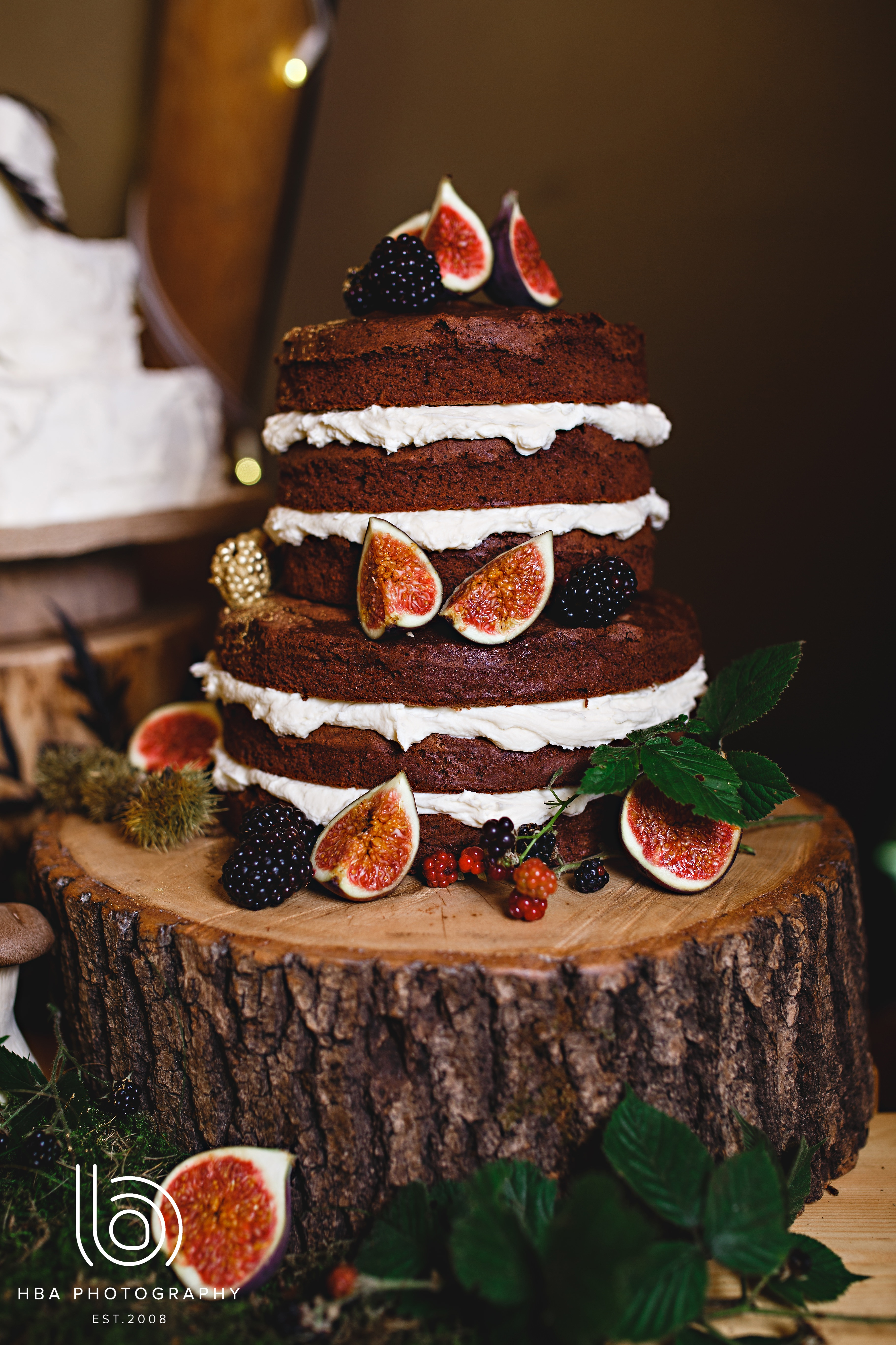 Naked chocolate wedding cake