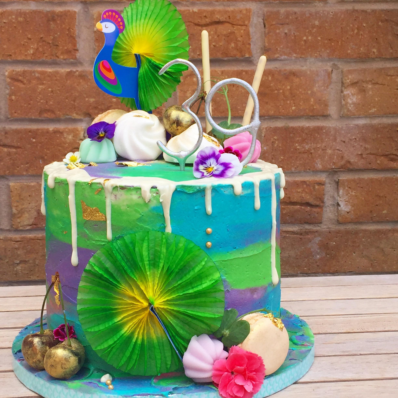 Peacock Drip Cake
