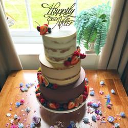 Ombre semi naked wedding cake