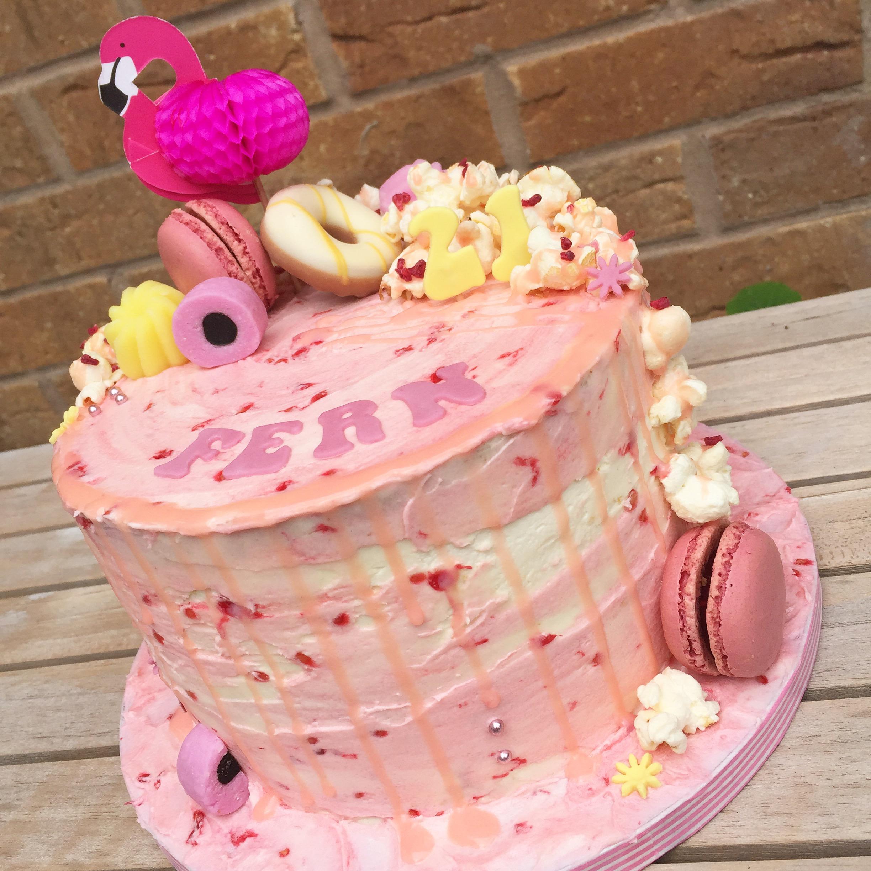 Pink Flamingo Drip cake