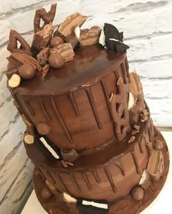 Two tier chocolate drip cake