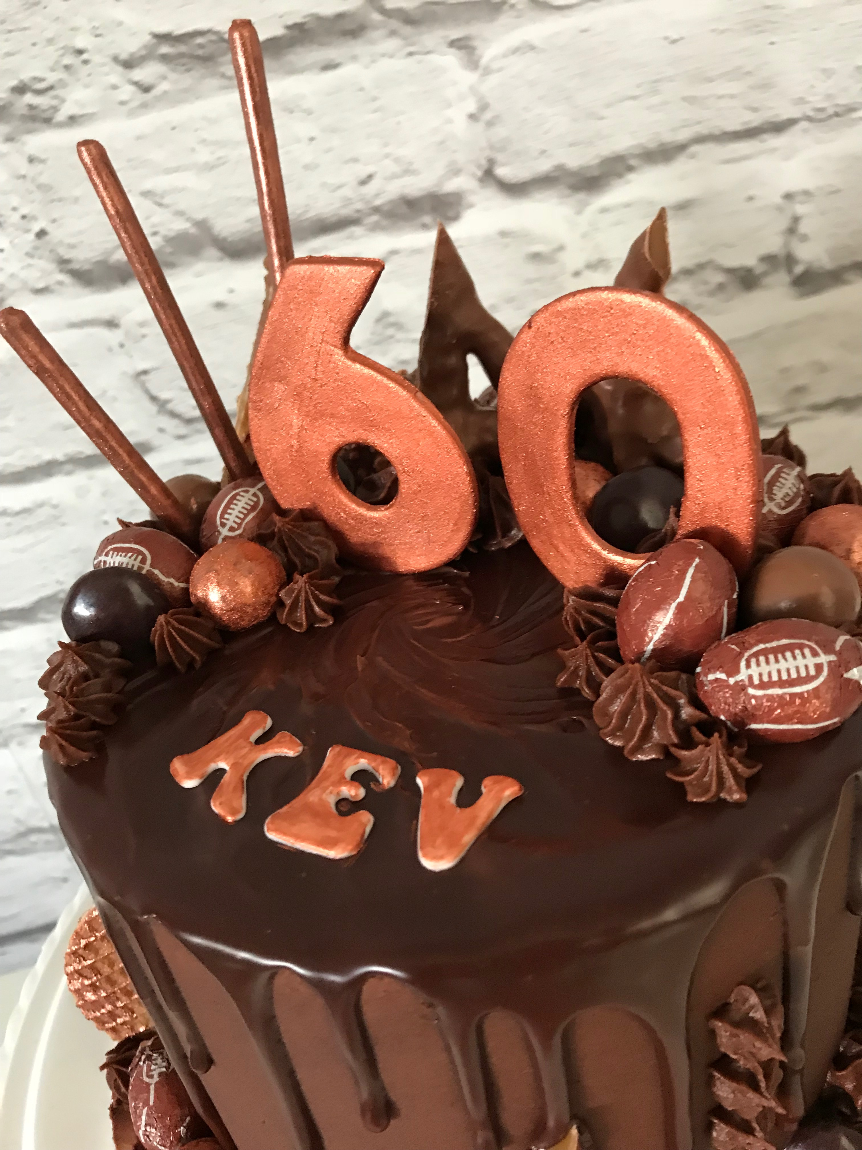 Rugby themed chocolate drip cake