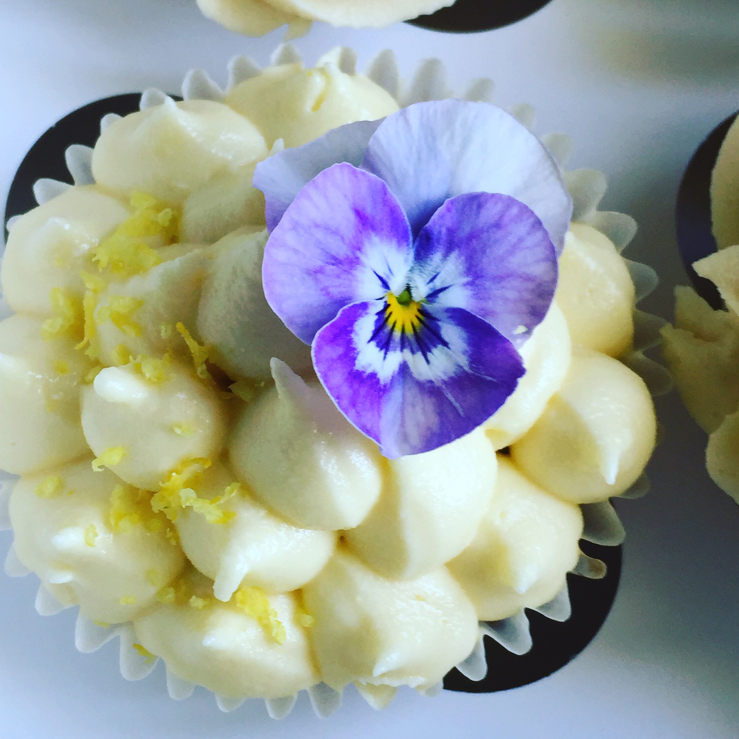 Lemon cupcake with viola