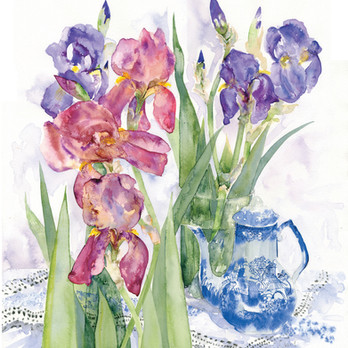 IRISES & COFFEE POT