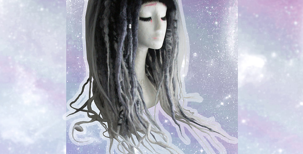 B&W dreadlock wig