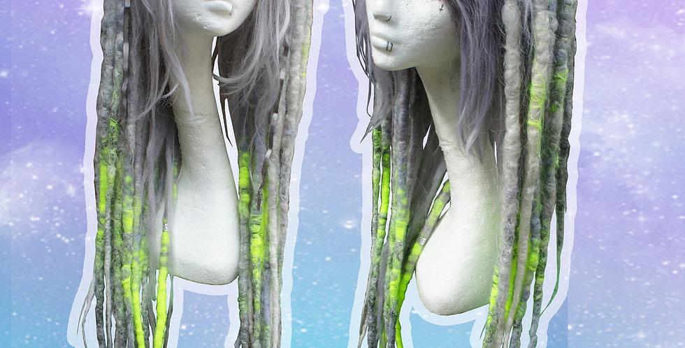 Silver & Neon Yellow Dreadlock Wig