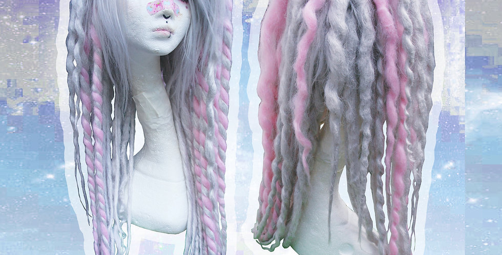 Grey & Pink Dreadlock Wig
