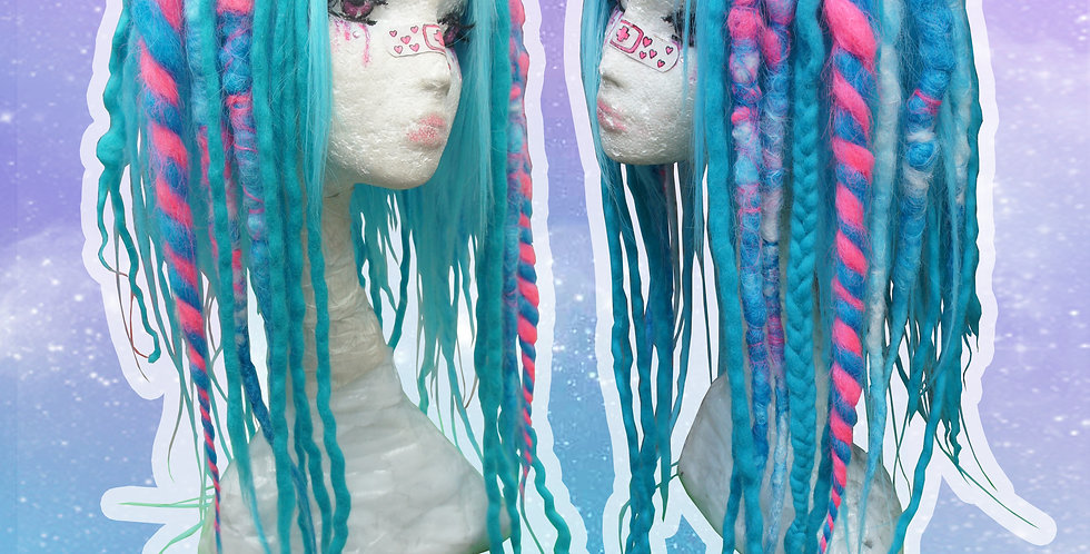 Blue & Pink Dreadlock Wig