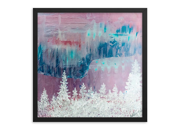 Snowy Northern Lights Framed Poster Print