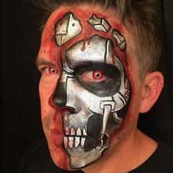 Terminator Cyborg Face Painting