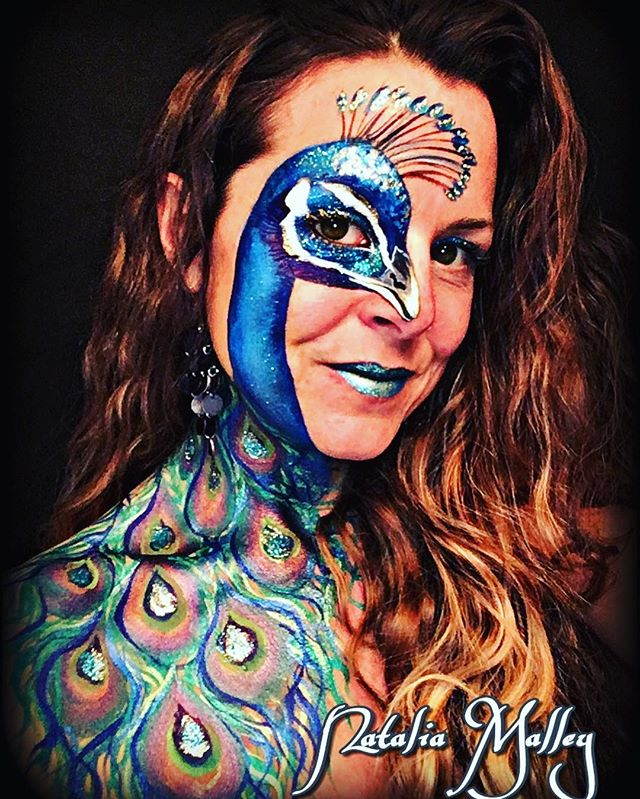 peacock face and body art