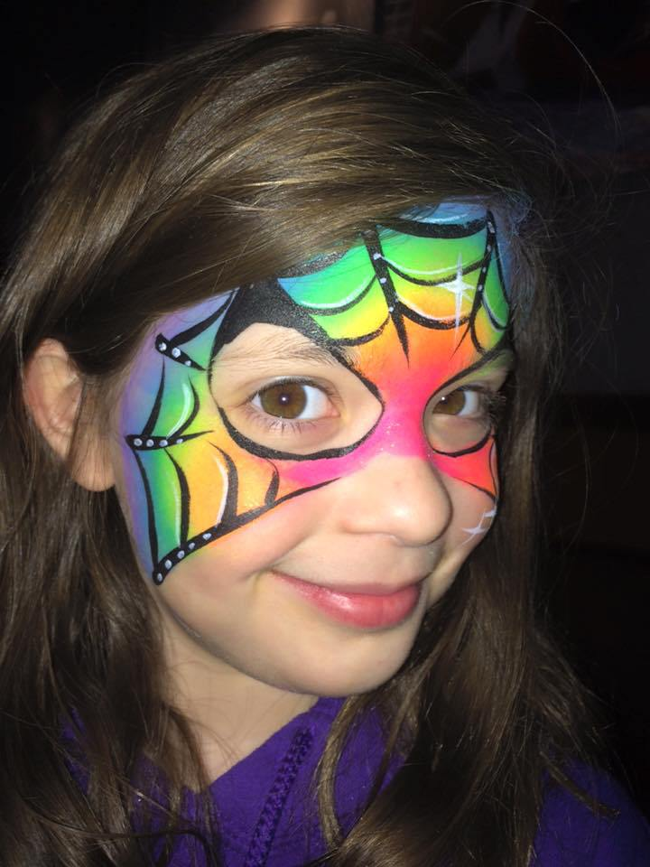 Rainbow Spiderman Face Paint