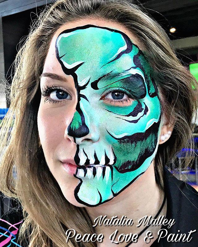 Green Skulltress Face Painting