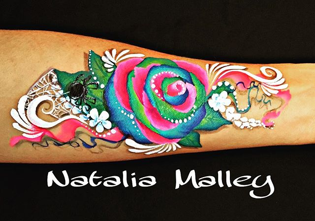 Rainbow Rose Arm Painting